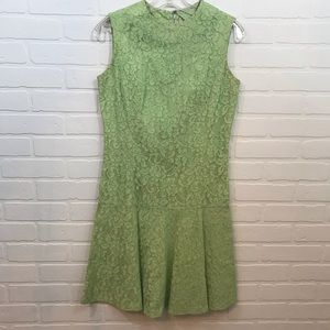Vintage Lime Green Mod Lace Dress Sleeveless Zip